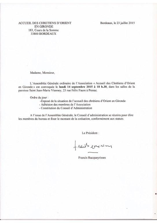 2015 07 23 lettre AG chretien orient